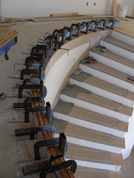 How To Bend A Wood Handrail Wood Bending Rail Wood Stairs   Diy Curved Stair Railing   Spiral Staircase   Glass   Staircase Makeover   Stair Case   Railing Ideas
