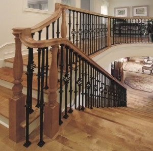 Stair Makeover – Replacing Wood Balusters With Wrought Iron Balusters | Adding Wood To Wrought Iron Railing | Cedar | Entryway | Rod Iron | Repair | Process Fabrication
