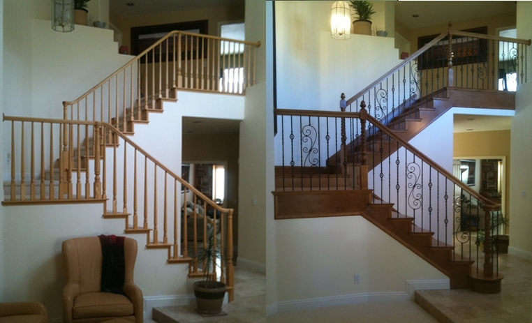 Stair Design Before And After Examples Stair Parts Blog | Replacing Wood Spindles With Metal | Stair Spindles | Iron Stair Balusters | Stair Parts | Stair Railing | Staircase