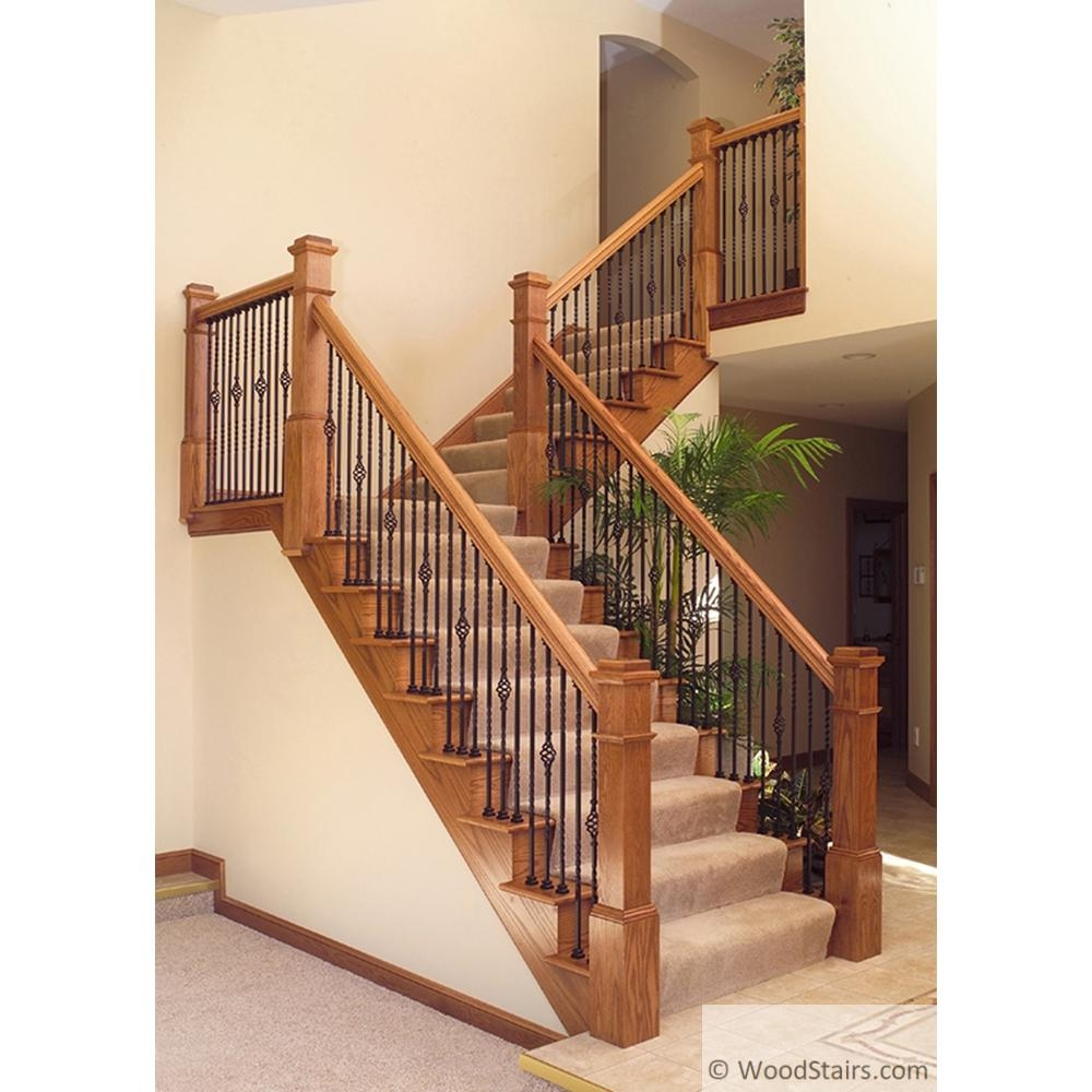 Li 1Bask44 Twist And Basket Baluster Wood Stairs Wrought Iron   Iron Handrails For Stairs   Cheap   Staircase   Spanish Style   Wood   Craftsman Style