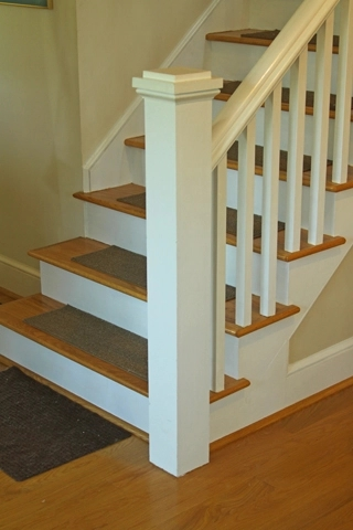 Anchoring A Newel Post Woodworking Blog Videos Plans How To   Handrail To Newel Post   Craftsman Style   Indoor Railing   Wood   Gray Stain   White Oak