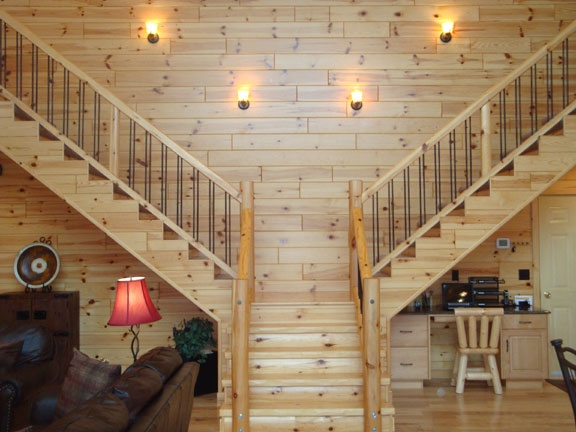 Log Railings And Stairs Cedar And Pine Log Railing Systems | Knotty Pine Stair Railing | Tongue Groove | Antique Wooden Stair | Log | White | Newel Post