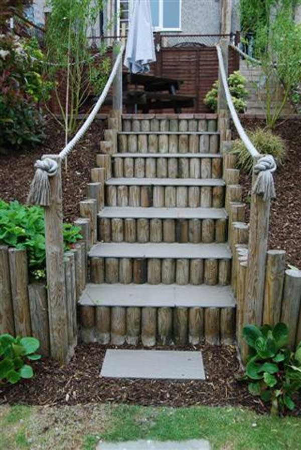 The Best 23 Diy Ideas To Make Garden Stairs And Steps Amazing   Wooden Handrail For Garden Steps   Stone Step   Free Standing   Metal   Wrought Iron   Front Door Step