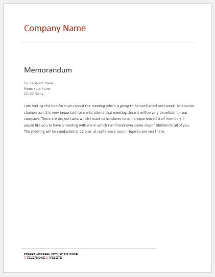 Internal Memo Templates for MS Word | Word & Excel Templates