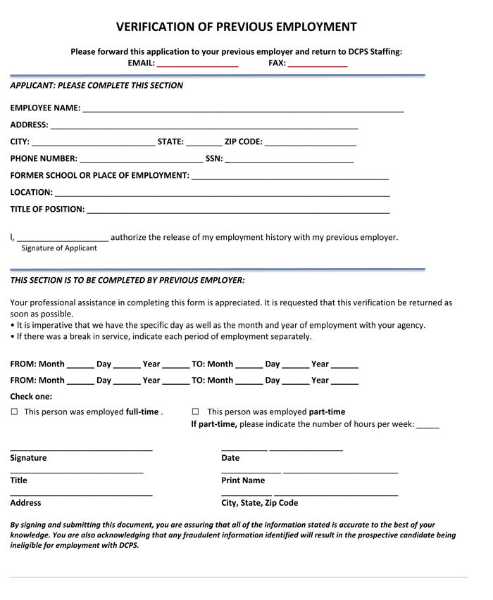 Dcf Employment Verification Form