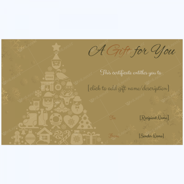 Golden Trees Christmas Gift Card Template   Word Layouts Christmas Gift Certificate Template 28