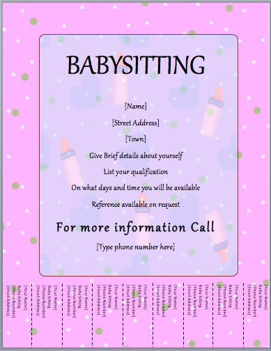 Babysitter Flyer Template Tear Off Word Templates