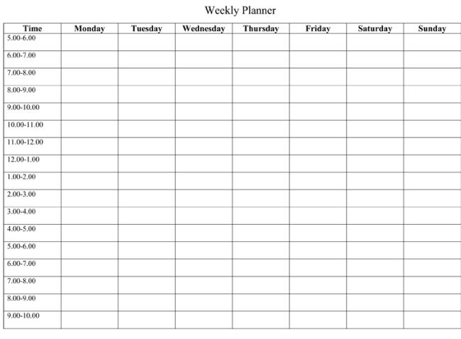 Half Hour Daily Planner Template