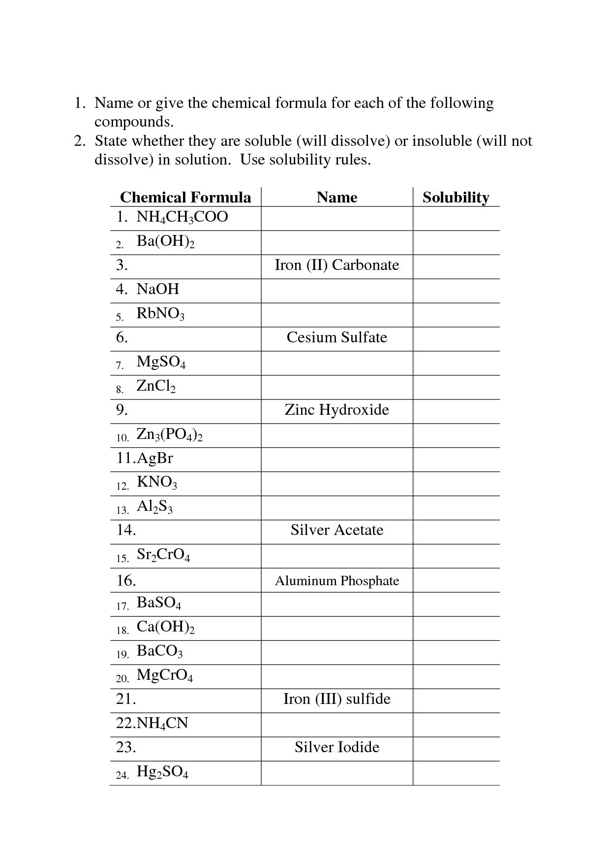 Solubility Rules Worksheet Answer Key