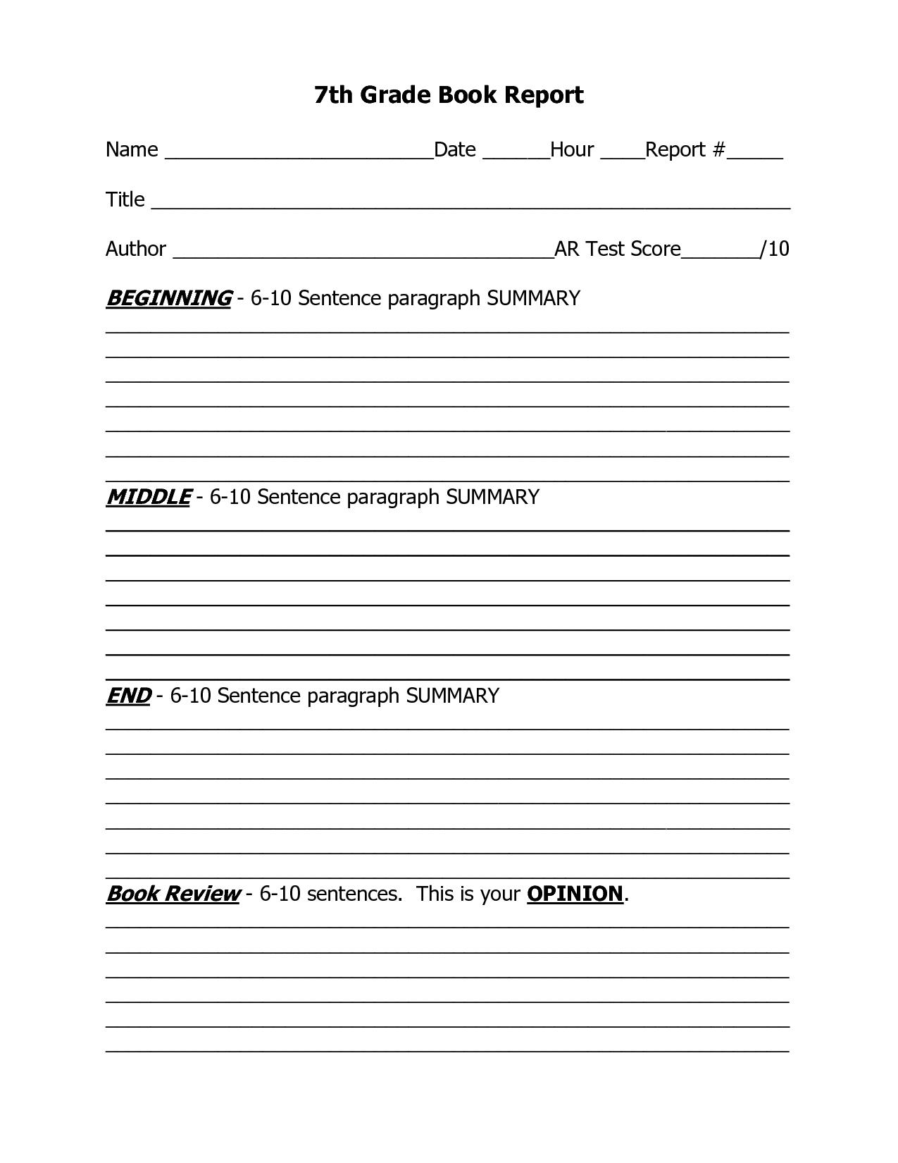 High School Level Book Report