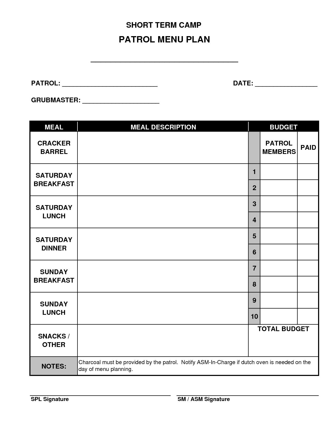Meal Planning Worksheet Boy Scout