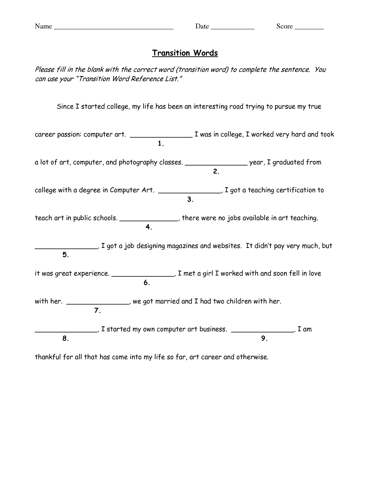 worksheet Transition Words Worksheet transition words worksheets free library download and nd verse v ri ti