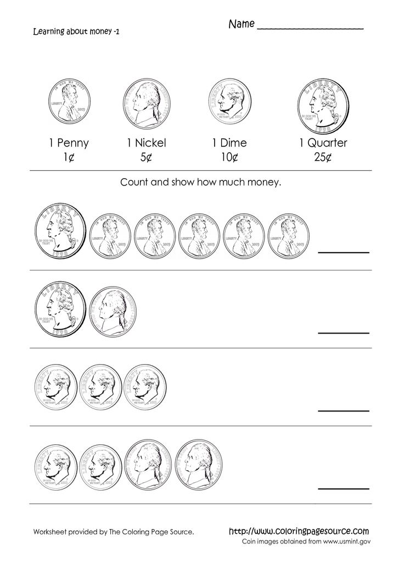 Coloring Coin Sheet Gld