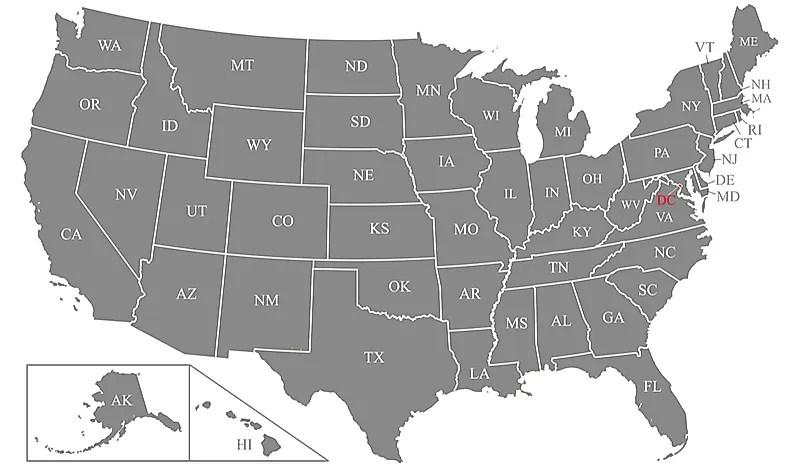 Abbreviations Postal Map And Canada Us