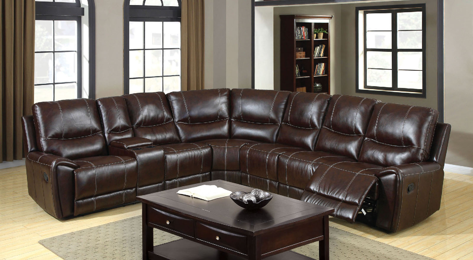 Brown Leather Ottoman Coffee Table Storage