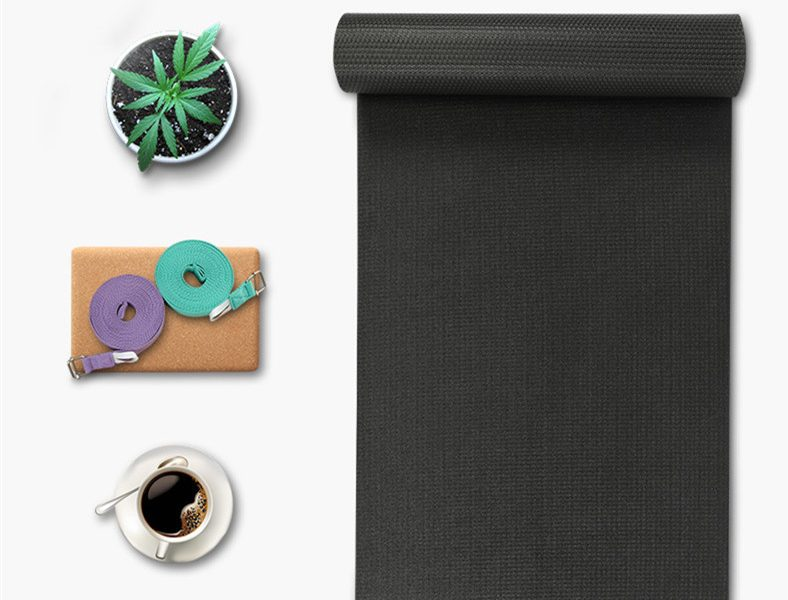 Yoga Mat TPE Black Color Anti-slip Soft Protective Durable