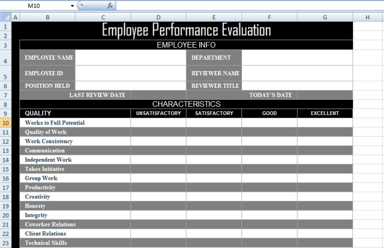 Employee Performance Evaluation Form XLS   Free Excel Spreadsheets     Employee Performance Evaluation Form XLS Format