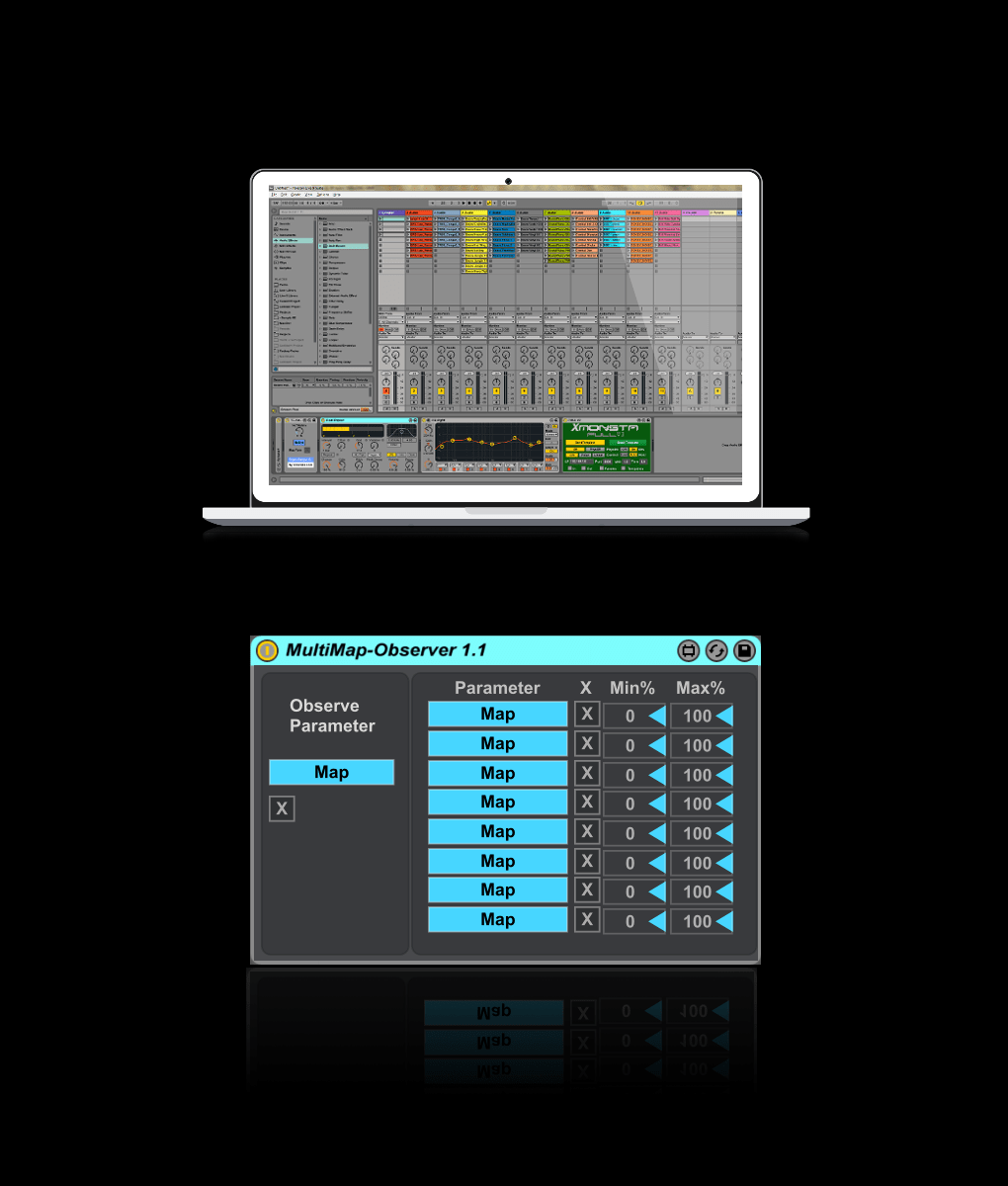 Multi Map Observer     XMonsta     Ableton iPad Controllers   Max Devices MultiMapObserver