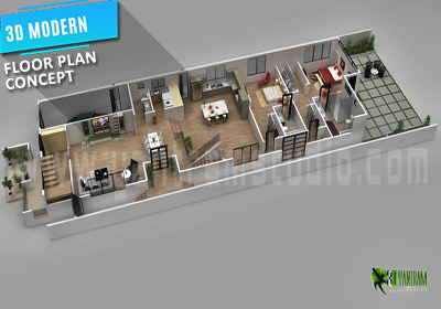 3D Floor Plan Design  Interactive 3D Floor Plan   Yantram Studio 3d floor plan design for modern home
