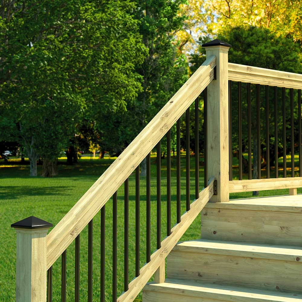 Pressure Treated Wood Outdoor Stair Railing Kit Yard Home | Aluminum Outdoor Stair Railing | 2 Step | Pressure Treated Deck Black | Commercial | Modern | Front Entrance