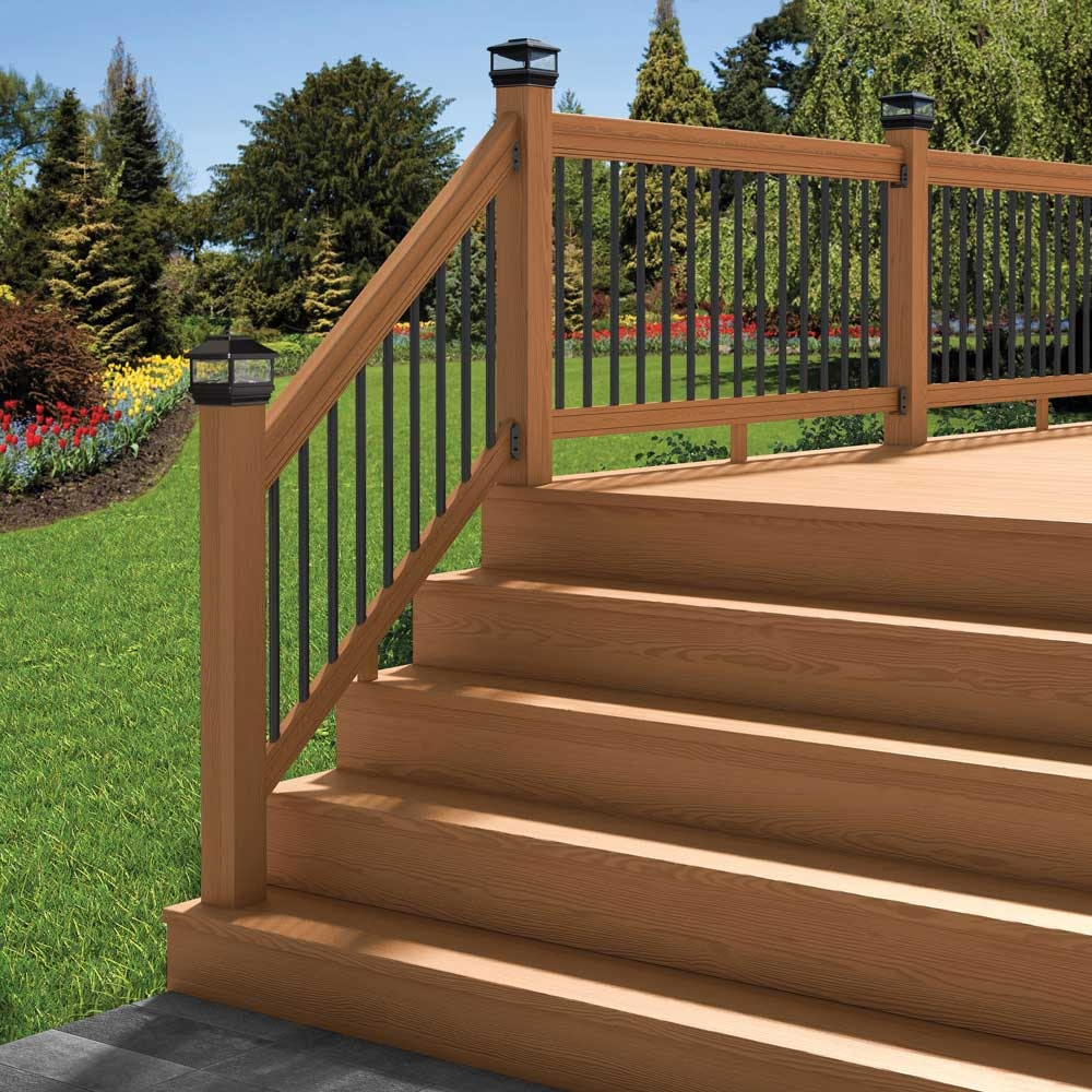 Pressure Treated Cedar Tone Outdoor Stair Railing Kit Yard Home   Outdoor Wood Stair Railing   Child   Stair Inside   Staircase   Natural Wood   Build In