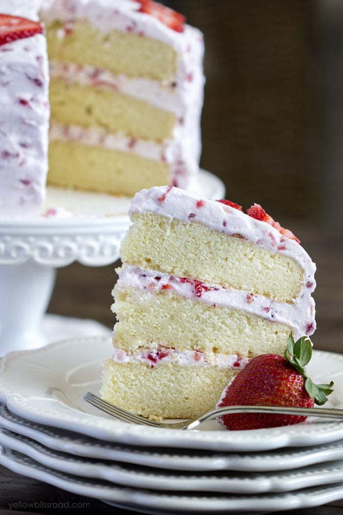 Two Layer Strawberry Cake