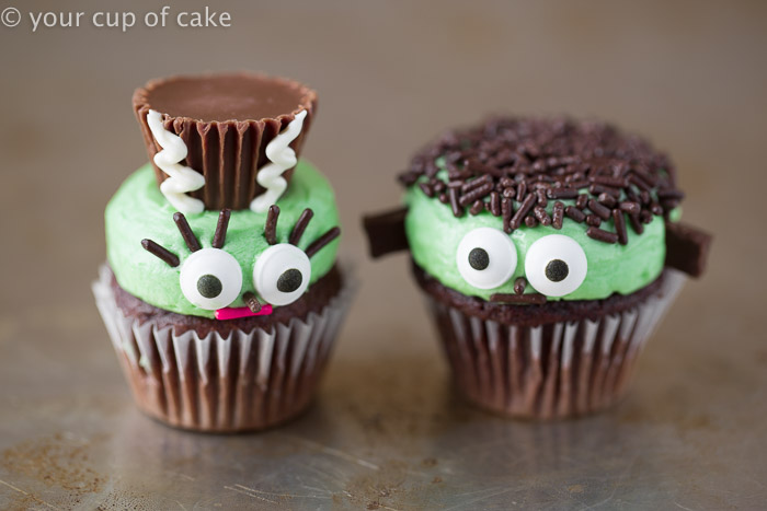 Mr  and Mrs  Frankenstein Mini Cupcakes   Your Cup of Cake Frankenstein and his wife as mini cupcakes  So cute