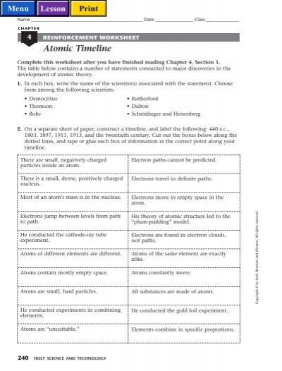 Reinforcement Worksheet Atomic Timeline