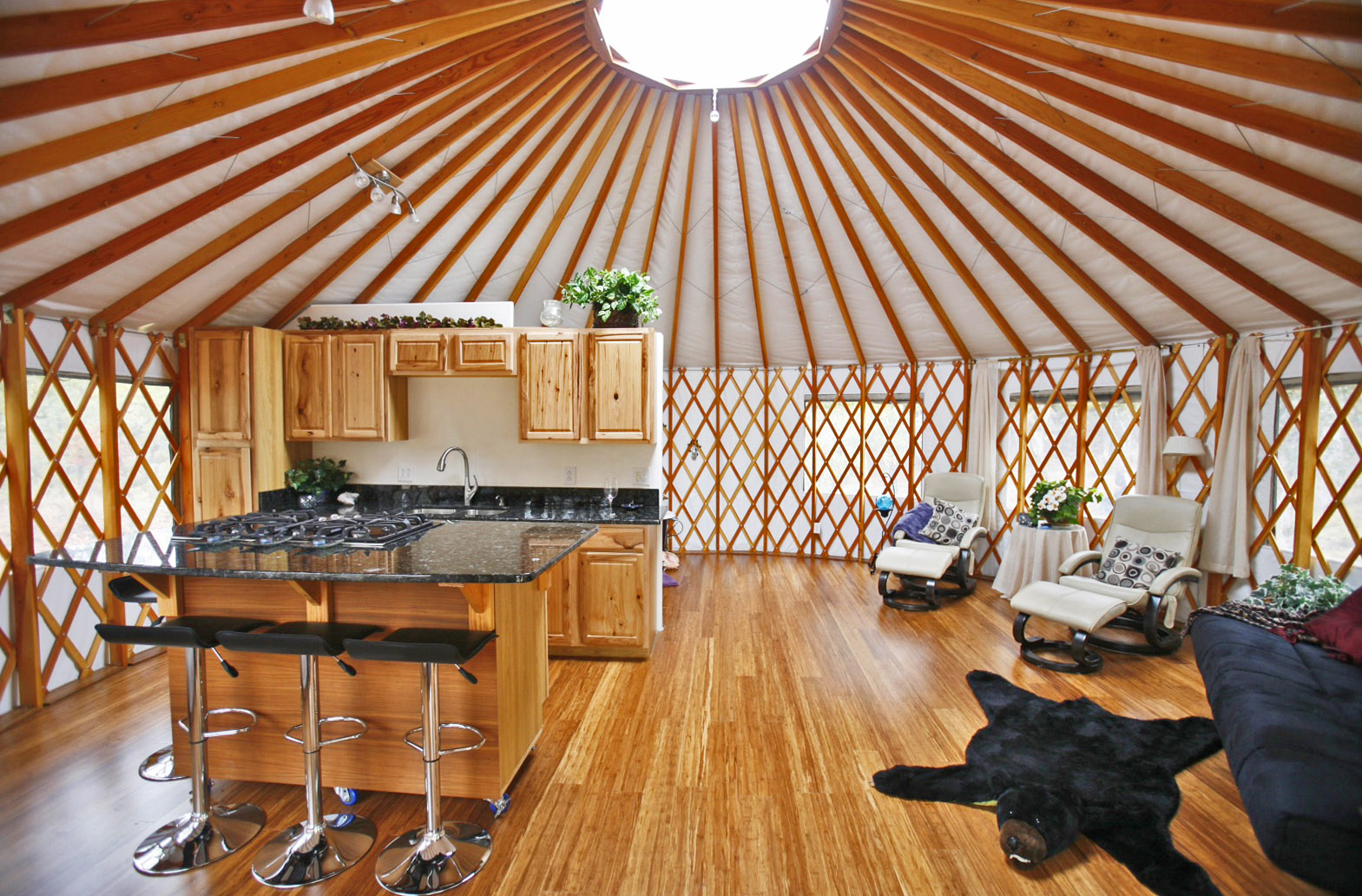 Yurt Home Decorating Ideas   Pacific Yurts Elegant open yurt kitchen