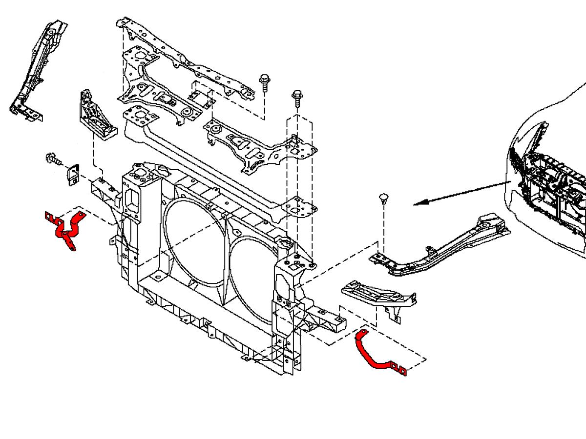 Oem radiator support bracket is found on all 2009 nissan 370z's