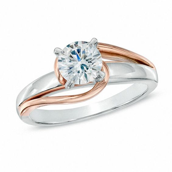 1 2 Ct Diamond Solitaire Swirl Engagement Ring In 14k Two Tone Gold Engagement Rings