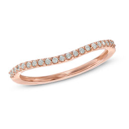 Wedding Bands   Wedding   Zales T W  Diamond Contour Wedding Band in 14K Rose Gold