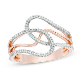 Fashion Rings   Rings   Zales T W  Diamond Abstract Loop Ring in 10K Rose Gold
