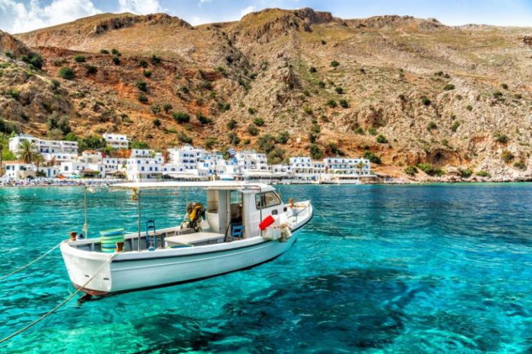 Best Greece Vacations   Tours   Greek Island Vacations   Packages     Loutro in Crete  Greece  Credit  Shutterstock