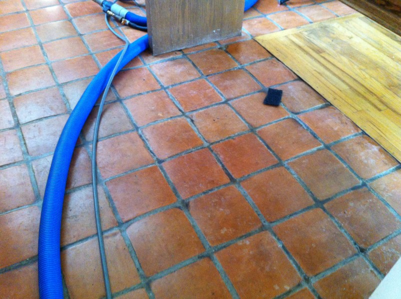Greenwich Mexican Tile Ziegler s was called in when another cleaner declined to clean this clay  style Mexican floor  The finish on this floor was poly in nature and  required a