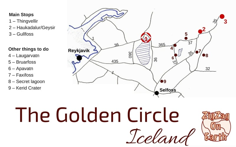 Iceland Printable Golden Circle Map