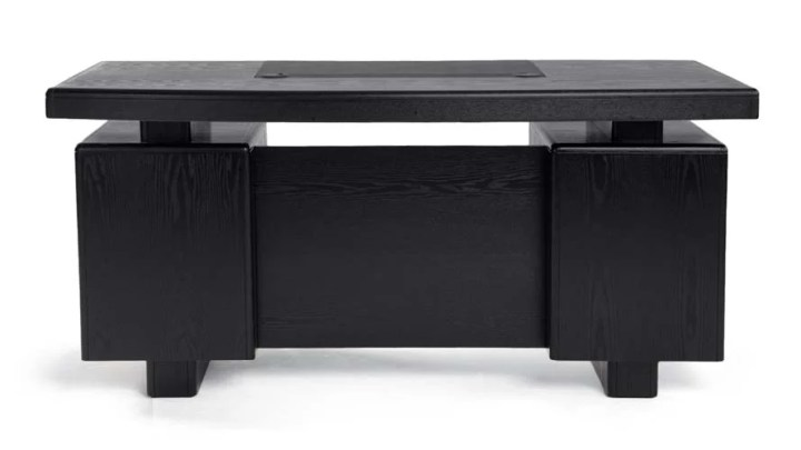 Monroe Black Wood Modern Desk with Leather Pad and Storage   Zuri     Monroe Black Wood Modern Desk with Leather Pad and Storage   Zuri Furniture