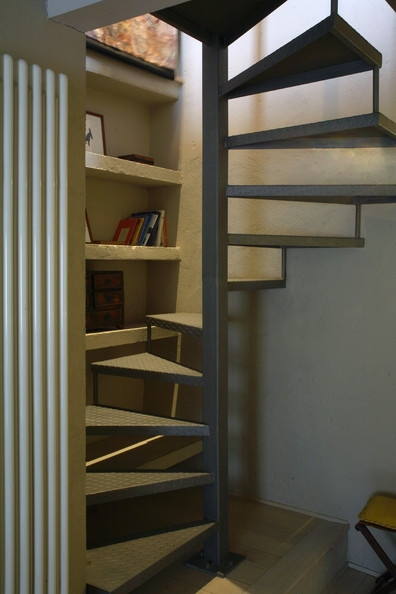 Small Space Stairs Photos 9 Of 37 | Stairs For Small Spaces | Modern | Living Room | Beautiful | Design | Metal