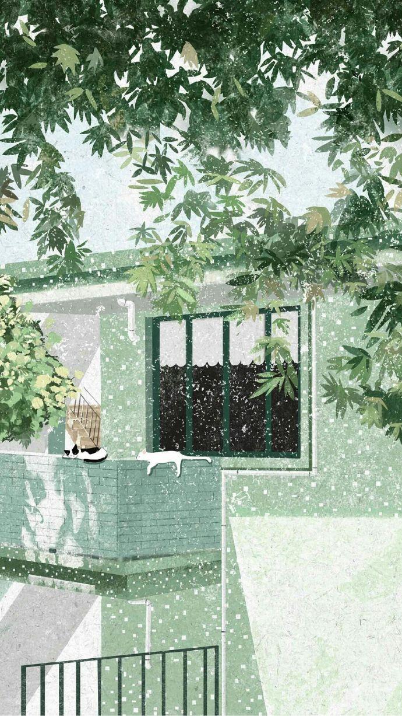 晚安心语插画190114:我愿与你一房两人三餐四季,四海三山二心一生