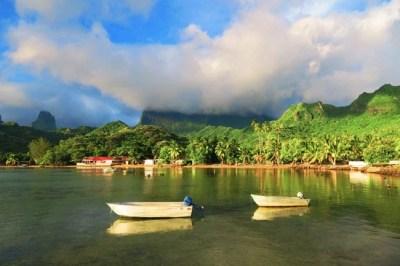 Athia Bay Moorea French Polynesia sunset