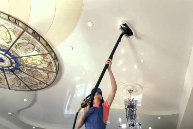 How to wash stretch ceilings at home