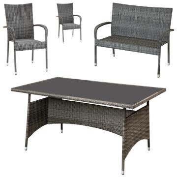 ᐅᐅ】Gartenmöbel-Set Palermo (90x150, 1 Bank, 2 Stühle, grau ...