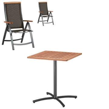 ᐅᐅ】Gartenmöbel-Set Santiago (74,5x61,9, Cafétisch, 2 Stühle ...
