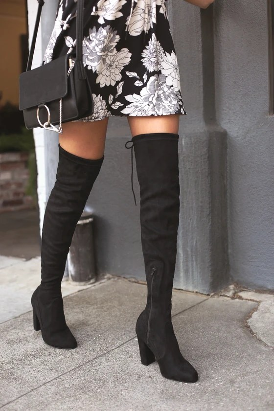 Chic Black Suede Boots - Black Over the Knee Boots - OTK ...
