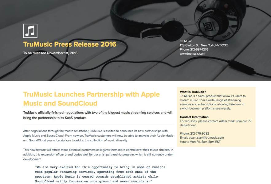How To Write a Press Release   Xtensio TruMusic Press Release