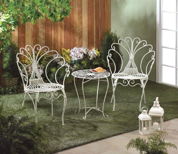 PATIO FURNITURE OR GARDEN FURNITURE  We have unique and beautiful     WHITE IRON METAL BISTRO SET   PEACOCK INSPIRED BISTRO SET