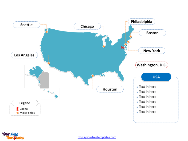 Free USA PowerPoint Map   Free PowerPoint Templates USA PowerPoint map of outline labeled with cities