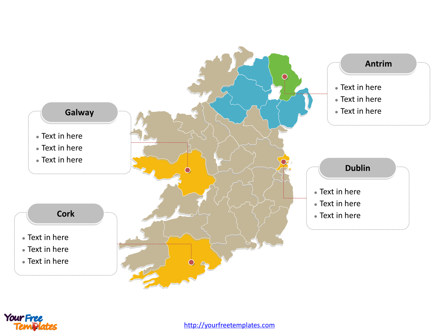 Free Ireland Island Editable Map   Free PowerPoint Templates Ireland Political map labeled with major counties of Republic of Ireland and  Northern Ireland
