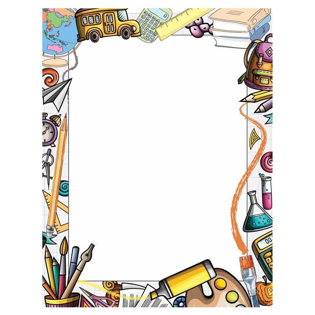Classroom & School Supplies Border Paper - Your Paper Stop