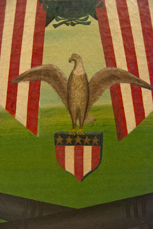 Patriotic Gar Oil On Canvas With Eagle Flags And Cannons